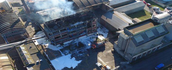 Incendie aux établissements Saipol - Photo Sdis76