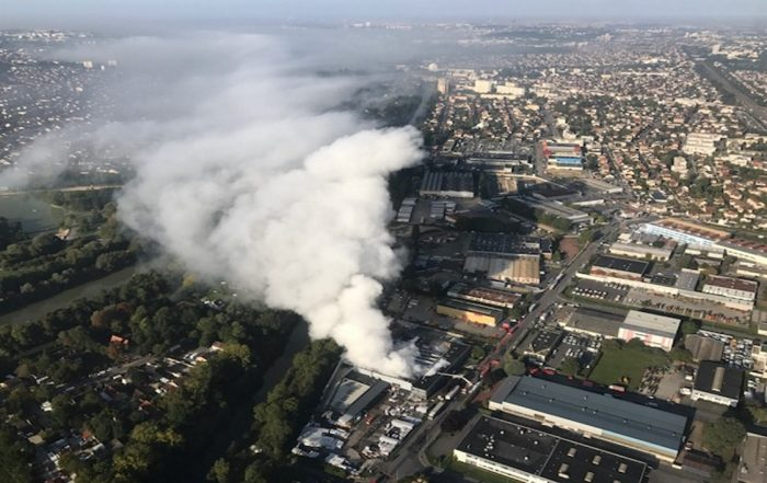 Incendie d'une usine de produits en plastique le 22 septembre 2017 - Crédit Sdis77