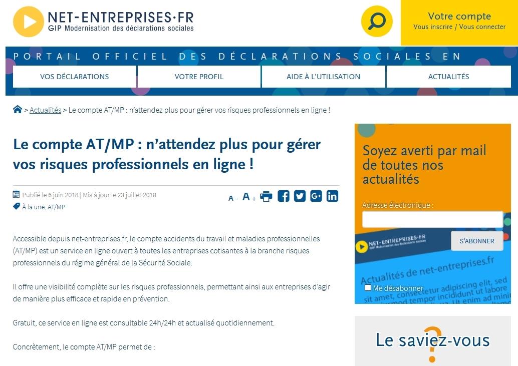 Compte AT/MP sur net-entreprises.fr
