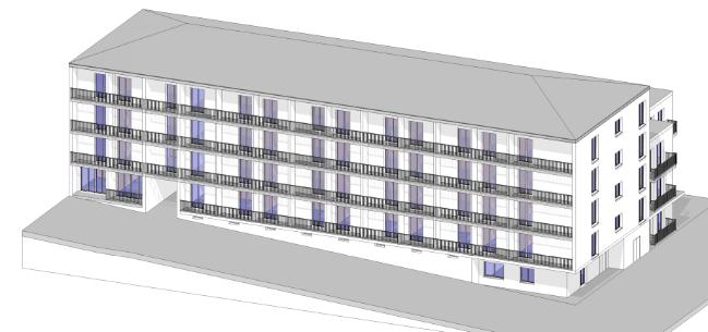 Façade sur rue, le niveau de référence est le rez-de-chaussée en pignon (Image - SDIS du Tarn)