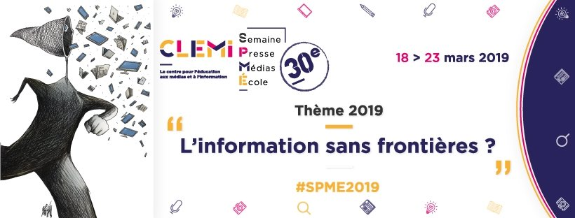 L'information sans frontières, thème de la semaine de la presse et des médias dans l'école 2019 (Image Clemi)