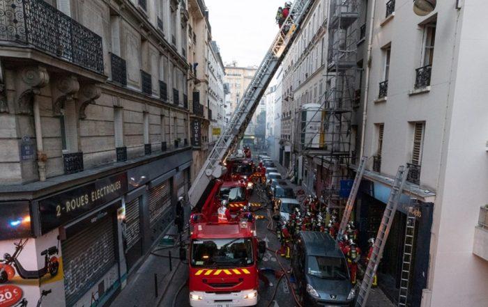 Incendie rue de Nemours Paris intervention BSPP (Photo K.Ply@BSPP)