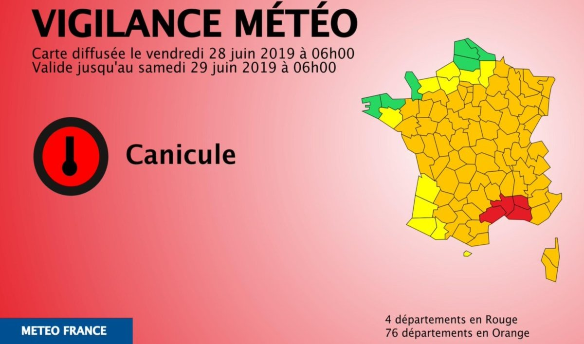 Canicule vigilance Météo France (Image Twitter Météo France).