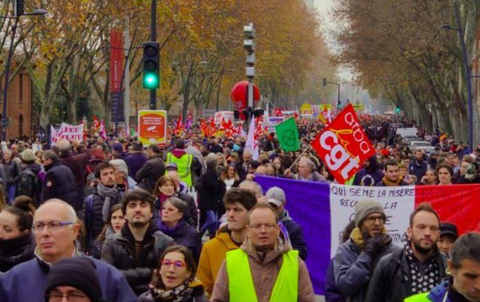 Manifestation du 5 décembre 2019 à Toulouse. (Photo Twitter Paul @pollos31400).