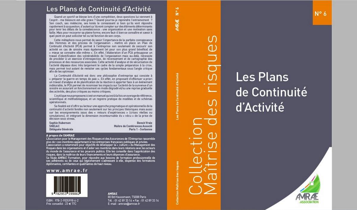 Amrae (image de couverture ouvrage Plans de continuité d'activité).